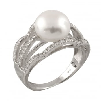 Bella Pearls sterling silver rhodium plated 10-10.5mm white freshwater pearl ring