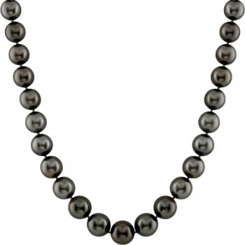Bella Pearls 14ct white gold 10.1-12.4mm black aaa quality tahitian pearl and 0.25ct diamond encrusted necklace