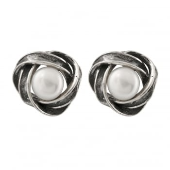 sterling silver oxydized 6-6.5mm white freshwater pearl earrings