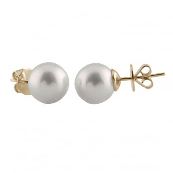 Bella Pearls 14ct yellow gold 9-10mm white south sea pearl earrings