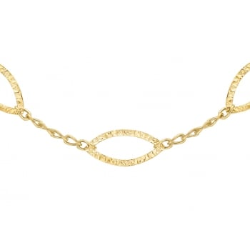 Jewel & Gem 9ct Yellow Gold Diamond Cut Oval Links Curb Chain Necklace of 43cm/17""