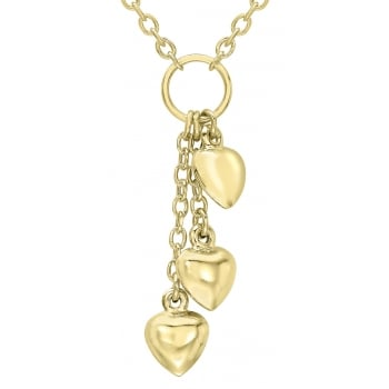 Jewel & Gem 9ct Yellow Gold Triple Heart Drop Chain Necklace of 43cm/17""