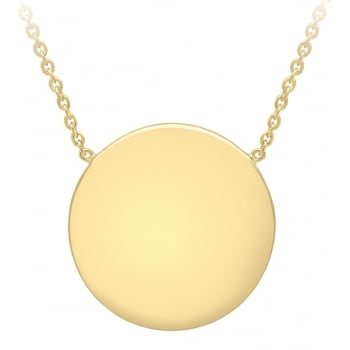 Jewel & Gem 9 ct Yellow Gold Engravable Disc Pendant with Adjustable Necklet of 41 cm/16 inch-43 cm/17 inch