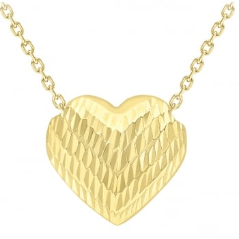 Jewel & Gem 9ct Yellow Gold Diamond Cut Sliding Heart Necklace of 45cm 1.19.6344