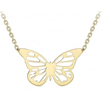 Jewel & Gem 9ct yellow gold butterfly pendant and 41 - 43cm curb chain