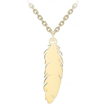 Jewel & Gem 9ct yellow gold feather pendant and 41 - 43cm curb chain