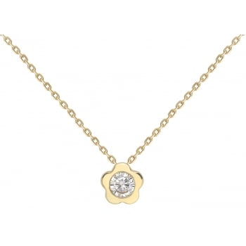 Jewel & Gem 9ct yellow gold flower pendant and41 - 43cm curb chain