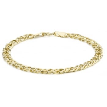 9ct Yellow Gold Double Curb Bracelet of 18.5cm/7.25