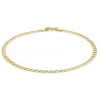 Jewel & Gem 9 ct Yellow Gold Flat Curb Bracelet of 19 cm/7.5 inch