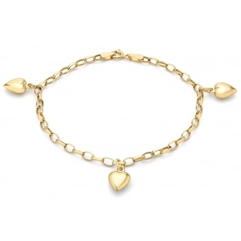 9ct Yellow Gold Heart Charm Semi Hollow Oval Bracelet of 18cm/7