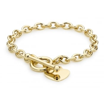 Jewel & Gem 9 ct Yellow Gold Heart Tag T-Bar Belcher Bracelet of Length 19 cm