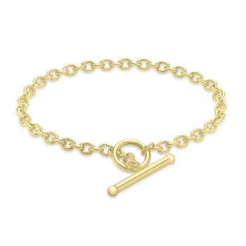 Jewel & Gem 9 ct Yellow Gold 100 Oval Belcher T-Bar Bracelet 19 cm/7.5 inch