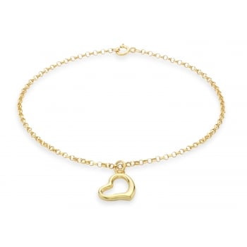 Jewel & Gem 9 ct Yellow Gold Heart Charm Round Belcher Bracelet of 18 cm/7 inch