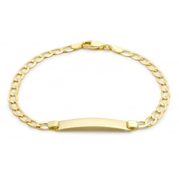 Jewel & Gem 9ct Yellow Gold Flat Curb ID Bracelet of 18cm/7""