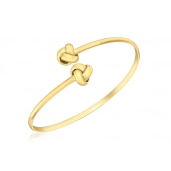 Jewel & Gem 9ct Yellow Gold Bangle Crossover Knot