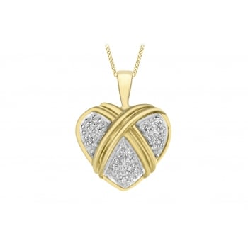 Jewel & Gem 9ct Yellow Gold Diamond Heart Pendant on Curb Chain Necklace of 46cm/18""