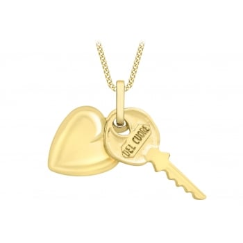 Jewel & Gem 9ct Yellow Gold Key and Heart Pendant on Curb Chain Necklace of 40cm/16""