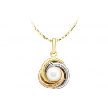 Jewel & Gem 9 ct Three Colour Gold Knot and Pearl Pendant with Chain of Length 46 cm