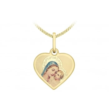 9ct Yellow Gold Madonna and Child Heart Pendant on Curb Chain of 46cm/18