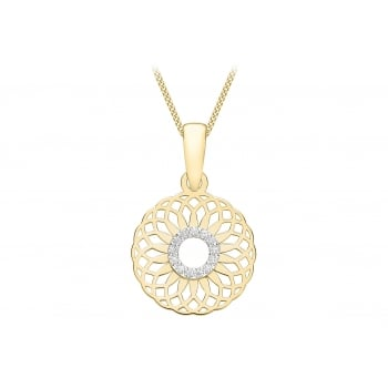 Jewel & Gem 9ct Yellow Gold Cubic Zirconia Circle Overlapping Spiral Pendant on a Curb Chain of Length 45.72cm