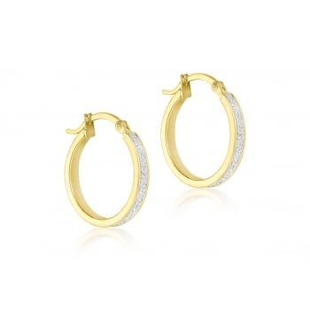 Jewel & Gem 9 ct Yellow Gold Stardust Creole Earrings