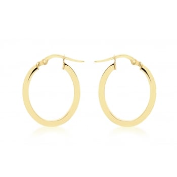 Jewel & Gem 9ct Yellow Gold Oval Creole Earrings