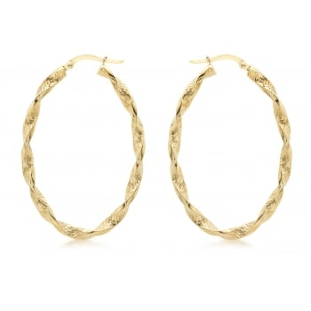 Jewel & Gem 9 ct Yellow Gold Textured Oval Twist Creole Earrings