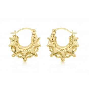 Jewel & Gem 9ct Yellow Gold Patterned Creole Earrings