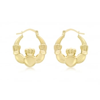 Jewel & Gem 9ct Yellow Gold Claddagh Creole Earrings
