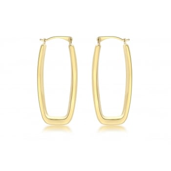 Jewel & Gem 9ct Yellow Gold Rectangular Creole Earrings