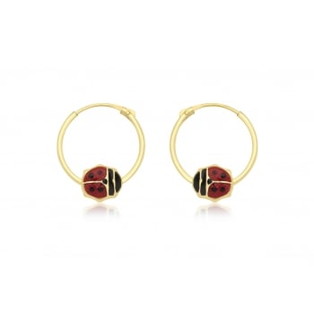 9ct Yellow Gold Red Enamel Ladybird Hoop Earrings