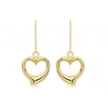 Jewel & Gem 9 ct Yellow Gold Heart Drop Earrings