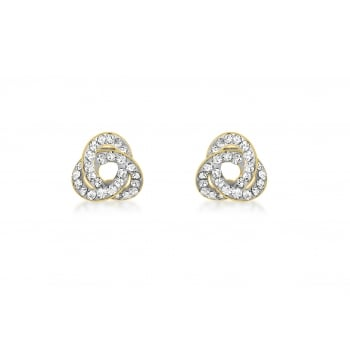 Jewel & Gem 9 ct Yellow Gold Crystalique Knot Stud Earrings