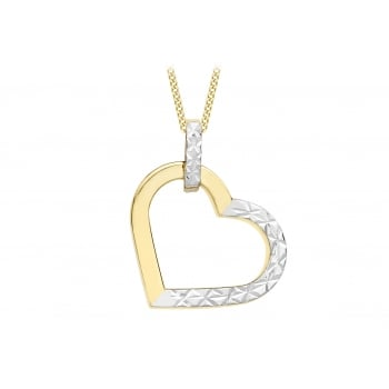 Jewel & Gem 9 ct 2 Colour Gold Diamond Cut Heart Pendant on Chain Necklace of Length 46 cm/18 inch