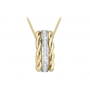 Jewel & Gem 9 ct Gold Two Colour Cubic Zirconia Band Twist Pendant Necklace of Length 45.72cm