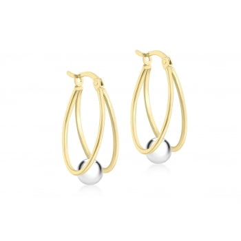 Jewel & Gem 9 ct 2 Colour Gold Double Loop and Ball Creole Earrings