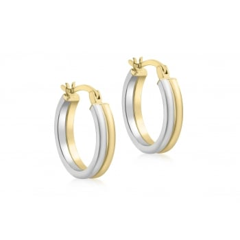 Jewel & Gem 9 ct 2 Colour Gold 18 mm Double Band Creole Earrings