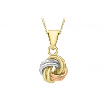 Jewel & Gem 9 ct 3 Colour Gold with Polished Tube Knot Pendant on Curb Chain of Length 46 cm/18 inch