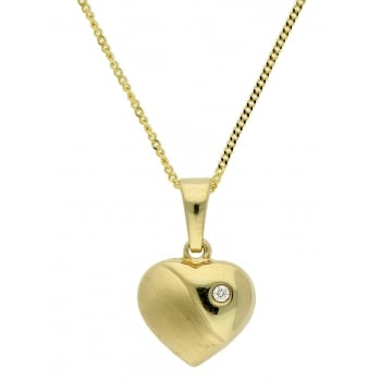 Jewel & Gem 9ct yellow gold heart pendant and 46cm curb chain