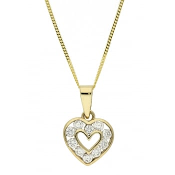 Jewel & Gem 9ct yellow gold cz pendant and 46 cm curb chain