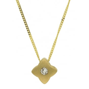 Jewel & Gem 9ct yellow gold 0.05ct diamond slider pendant and 46cm curb chain