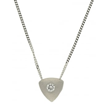 Jewel & Gem 9ct white gold 0.05ct diamond slider pendant and 46cm curb chain