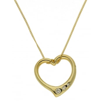 Jewel & Gem 9ct yellow gold 0.05ct floating heart pendant and 46cm curb chain