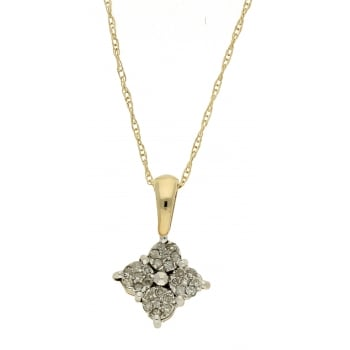 Jewel & Gem 9ct yellow gold 0.15ct diamond pendant and 46cm chain
