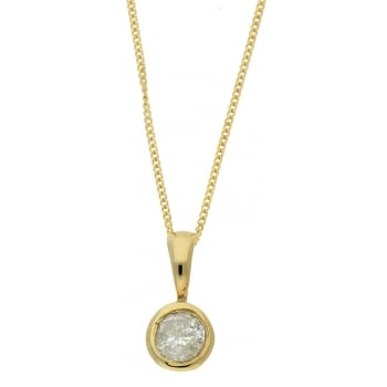 Jewel & Gem 9ct yellow gold 0.20ct diamond pendant and 46cm curb chain