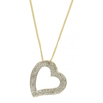 Jewel & Gem 9ct yellow gold 0.02ct diamond slider pendant and 46cm curb chain