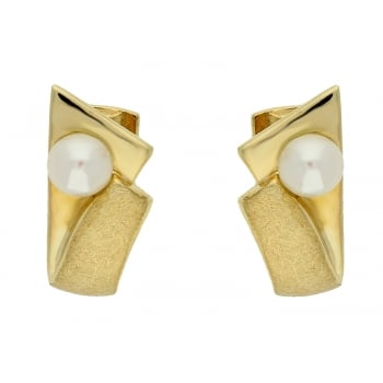 Jewel & Gem 9ct yellow gold cultured pearl creoles