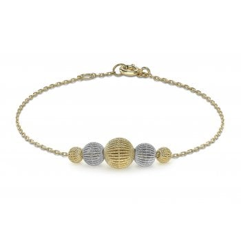 9ct Yellow & White Gold Graduated Bead Bracelet 19cm