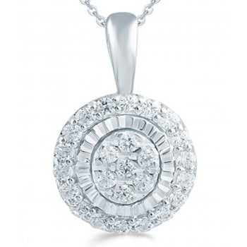 "Adara 9ct 0.16ct Diamond illusion set pendant & 18"" chain"