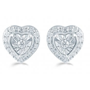 Adara Silver 0.25ct Diamond illusion set studs